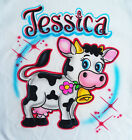 Airbrushed Black and White Cow - Personalized with name