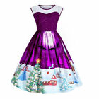 AU Plus Size Womens Christmas Santa Swing Dress Xmas Snowman Party Dress Skater