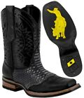 Mens Work Western Cowboy Boots Real Leather Square Toe Crocodile Belly Design