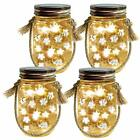 Homeleo 4-Pack Solar-Powered Mason Jar Lights Kits Lid Lights/Mason Jars/Hangers