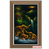 Velvet Painting Art 3 Elephants Playing Water Vertical Thai Craftman Handmade