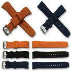 Curved end silicone rubber watch divers strap 22mm dive band orange blue black image