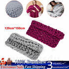 Handmade Chunky Knitted Blanket Soft Thick Yarn Bulky Knitt Throw Warm 150*120cm image