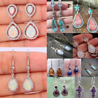 925 Silver Dangle Drop Earrings Ear Hook Moonstone Women Fashion Jewelry Gift image