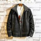 Young Mens Winter Lapel Fur Lining Short Coats Fashion Retro Motorcycle Jackets