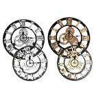 3D Gear Wooden Wall Clock Industrial Retro style Roman Numerals Silent Sweep New