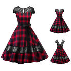 Women's V Back Vintage Plaid 1950's Retro Rockabilly Evening Party Swing Dress