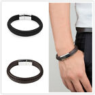 Mens Fashion Jewelry Concise Leather Bracelet Popular Stainless Steel Bracelet