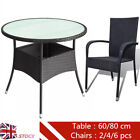 Poly Rattan Patio Table With 2/4/6 Pcs Chairs Garden Furniture Set Black Outdoor