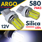 Silica W21/5w T20 580 Dual Filament Smd Cob Drl Sidelight 7443 Super White Bulbs