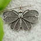 Free Ship 68 pieces tibet silve butterfly pendant 41x32mm #1741