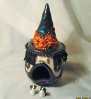 HALLOWEEN DOG HOUSE OOAK Polymer Witch Gnome Home doll mini box 2 miniature dogs