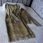 Two piece gold lace evening formal outfit by VERA MONT Size 10 Dress & jacket
