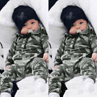 Infant Baby Boys Girls Camouflage Print Hooded Romper Jumpsuit Clothes Outfit A2