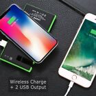 20000mAh Wireless Solar Power Bank 2 USB LED Small Waterproof Battery Charger