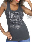 Harley-Davidson Ladies Skull with Flames Distressed Charcoal Grey Tank Top
