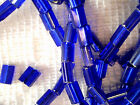 Vtg 240 SILVER LINED COBALT BLUE PILLOW GLASS BEADS 3X5mm #072513y LAST LOT!