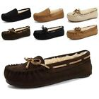 Womens Suede Loafers Indoor Pumps Shoes Flats Slippers Moccasins Fur Lined Warm