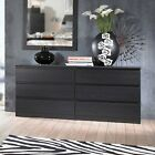 6 DRAWER DRESSER Double Chest Bedroom Furniture Storage Wood Multiple Finishes