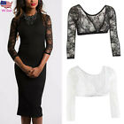 Women Lace Shoulder Seamless Arm Slimming Body Shaper Long Sleeve Top Cardigan