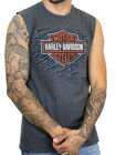 Harley-Davidson Mens Diamond Plate B&S Charcoal Gray Sleeveless Muscle Shirt