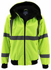Men's Class 3 Safety High Visibility Water Resistant Reflective Neon Work Jacket