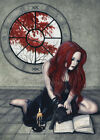 Fantasy Art  PRINT Gothic Witch Spell Book Black Cat Autumn Window wc Red Gray