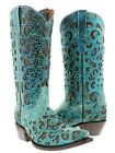 Womens Turquoise Overlay Western Cowgirl Boots Distressed Genuine Leather Snip