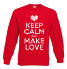 Keep Calm And Make Love Sweatshirt Pullover Red Lip Girlfriend Liebe Partner