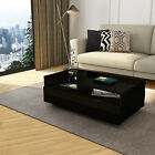 Modern Black Rectangle Coffee Tea Table Solid With 1 Storage Drawers High Gloss