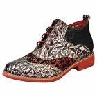 Laura Vita Coralie 078 Womens Rose Black Leather & Suede Brogue Boots