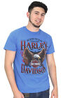 Harley-Davidson Mens Rebel Thunder Eagle B&S Sport Blue Short Sleeve T-Shirt image
