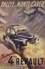 RALLY MONTE CARLO MONACO TRIUMPH OF THE 4CV RENAULT CAR VINTAGE POSTER REPRO $58.0 USD on eBay