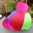 Riding Hat Silk Skull cap Cover PINK PURPLE RED LIME YELLOW  XL faux fur pompom
