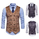 Mens Suit Vest Formal Business Wedding Party Double Breasted Waistcoat Coat