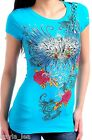 Aqua Wings/Rose/Cherub Victory Cap Sleeve Tee S/M/L $16.09 USD on eBay