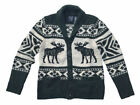 Abercrombie Fitch AF Jeans Mens M Green/ Beige Moose Wool Shawl Cardigan Sweater