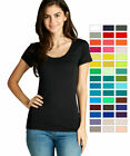 Women Basic Scoop Neck Short Sleeve T-Shirt Plain Top Solid Stretch Tee