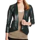 REBECCA MINKOFF Women's Noble Green Open-Front Ace Leather Jacket 598 NWT