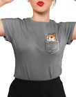 Dodge Pocket- Cute Meme Youtube dog Character- Black Cotton Kids & Adults T shir