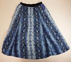 Long Maxi Skirt 2 Shear pleated panels Peter Nygard Missy 471 Graphic Blue Snake