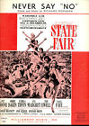 """STATE FAIR Sheet Music """"Never Say No"""" Ann-Margret Pat Boone Alice Faye"""