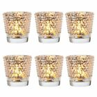 Candace Hobnail Design Glass Candle Holders, Set of 6