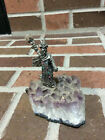 Pewter Wizard Mounted on Quartz Stone Missing Hand