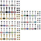 BodyJ4You 18PCS Belly Button Rings 14G CZ Navel Barbell 18 Replacement Ball Pack image