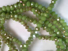 Vtg 95 OLIVE GREEN BRONZE FACETED RONDELLE GLASS BEADS 4X3mm (approx) #040719r