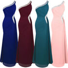 Angel-fashions Women's Ruched One Shoulder Beading Split Long Evening Dress 411