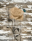 Brown White Rustic Farmhouse Wall Art, Rose Flower Butterfly Home Decor Picture