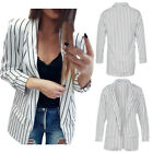 Womens Long sleeve Pockets Front Blazer Coat Ladies Outdoors Striped Jackets