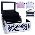 3 Layers Large Lockable Cosmetic Organizer Jewelry Makeup Box Case Stand Storage